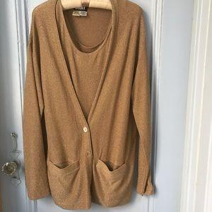 Donna Karan body suit and cardigan combo
